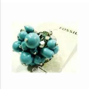Fossil Brand Ring Beaded Cluster Stretch Turquoise
